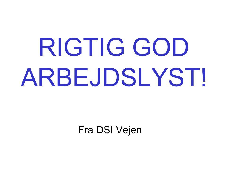 RIGTIG GOD ARBEJDSLYST! Fra DSI Vejen