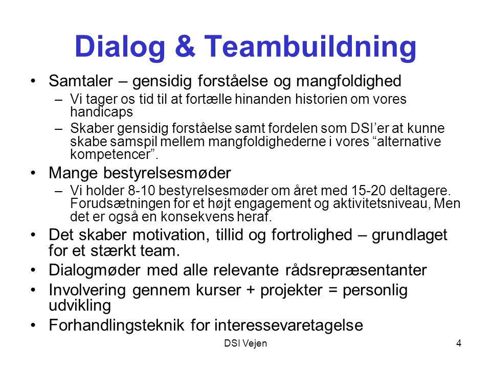 DSI Vejen4 Dialog & Teambuildning Samtaler – gensidig forståelse og mangfoldighed –Vi tager os tid til at fortælle hinanden historien om vores handicaps –Skaber gensidig forståelse samt fordelen som DSI'er at kunne skabe samspil mellem mangfoldighederne i vores alternative kompetencer .