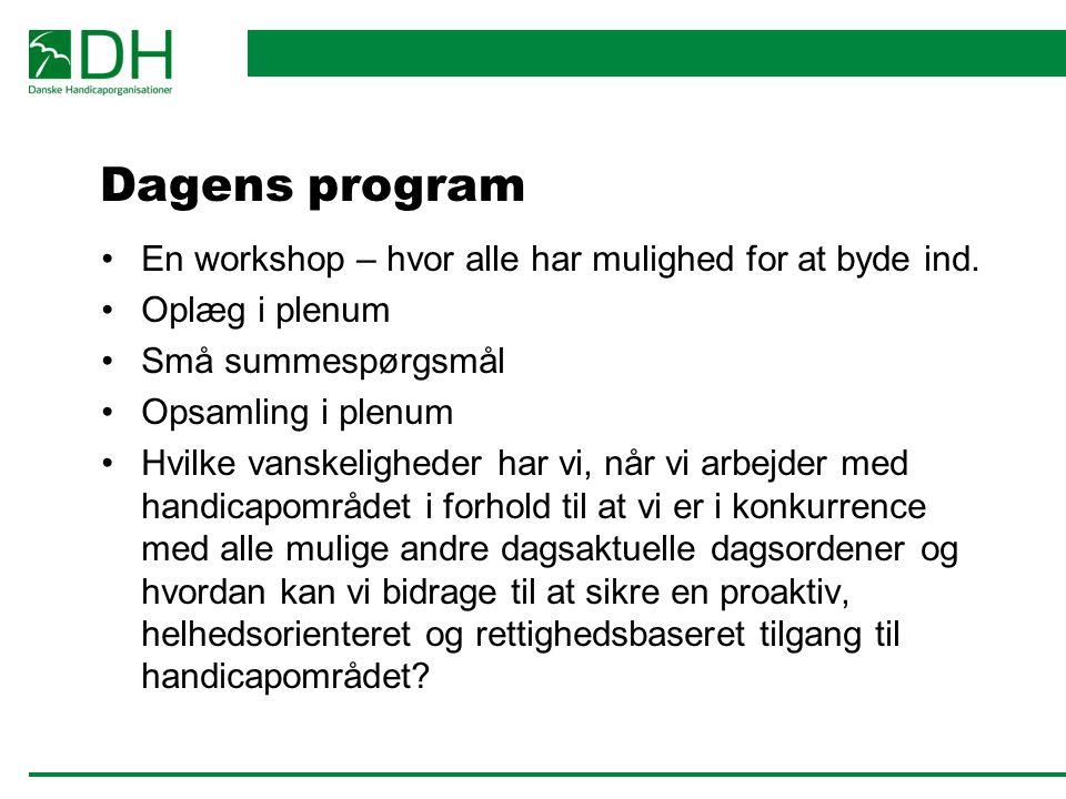 Dagens program En workshop – hvor alle har mulighed for at byde ind.