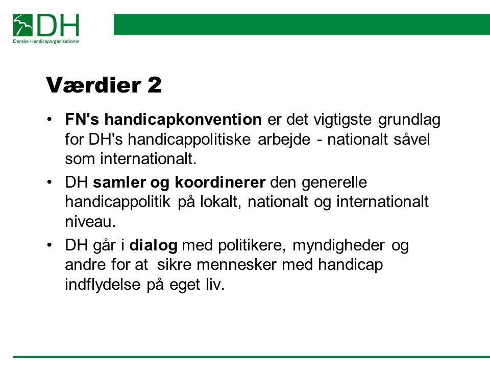 Værdier 2 FN s handicapkonvention er det vigtigste grundlag for DH s handicappolitiske arbejde - nationalt såvel som internationalt.
