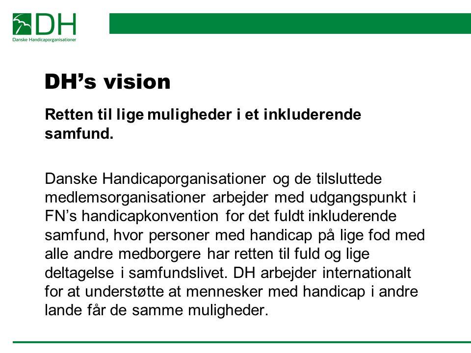 DH's vision Retten til lige muligheder i et inkluderende samfund.
