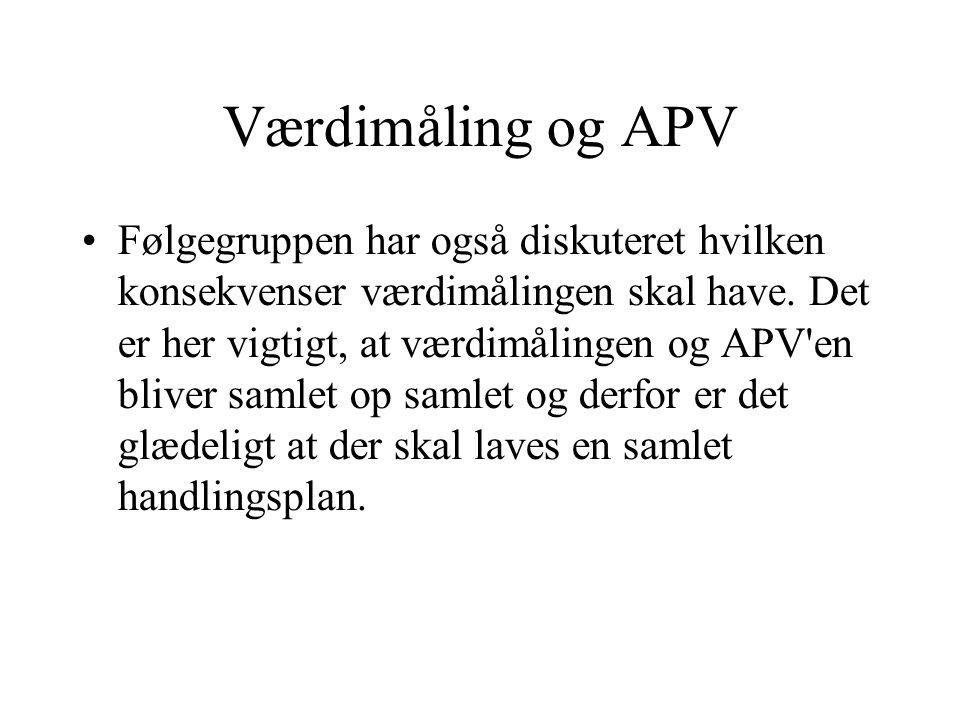 Værdimåling og APV Følgegruppen har også diskuteret hvilken konsekvenser værdimålingen skal have.