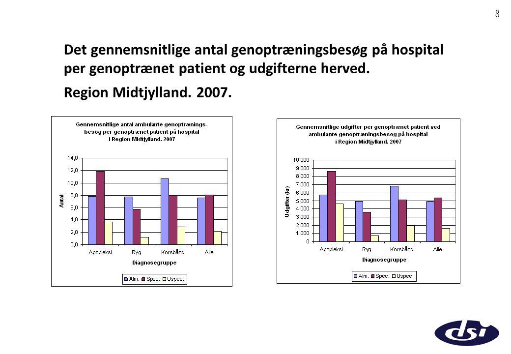 8 Det gennemsnitlige antal genoptræningsbesøg på hospital per genoptrænet patient og udgifterne herved.