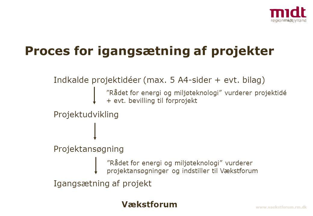 Vækstforum www.vaekstforum.rm.dk Proces for igangsætning af projekter Indkalde projektidéer (max.