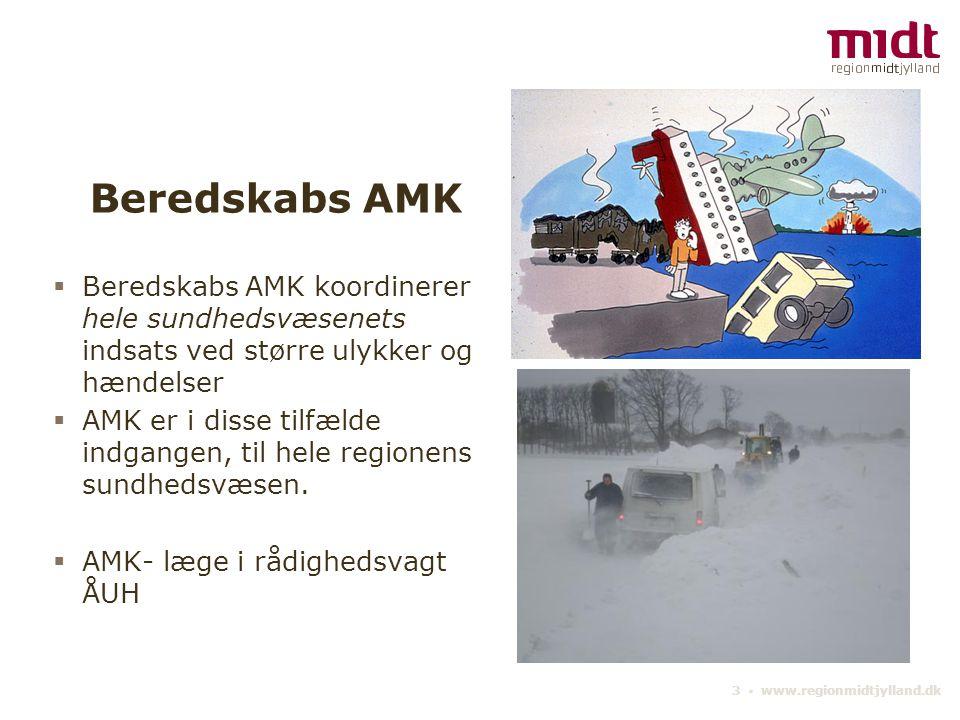 3 ▪ www.regionmidtjylland.dk Beredskabs AMK  Beredskabs AMK koordinerer hele sundhedsvæsenets indsats ved større ulykker og hændelser  AMK er i disse tilfælde indgangen, til hele regionens sundhedsvæsen.