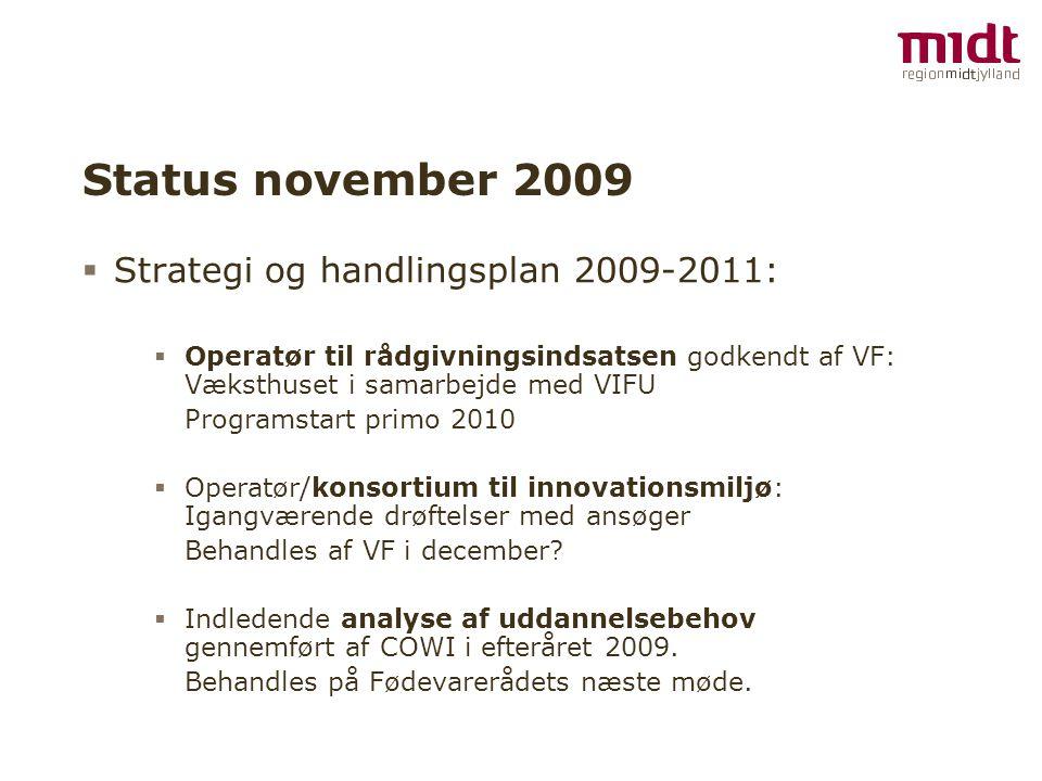 Status november 2009  Strategi og handlingsplan 2009-2011:  Operatør til rådgivningsindsatsen godkendt af VF: Væksthuset i samarbejde med VIFU Programstart primo 2010  Operatør/konsortium til innovationsmiljø: Igangværende drøftelser med ansøger Behandles af VF i december.
