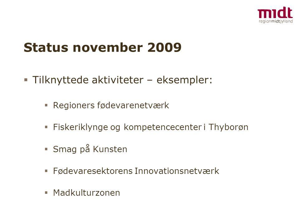 Status november 2009  Tilknyttede aktiviteter – eksempler:  Regioners fødevarenetværk  Fiskeriklynge og kompetencecenter i Thyborøn  Smag på Kunsten  Fødevaresektorens Innovationsnetværk  Madkulturzonen