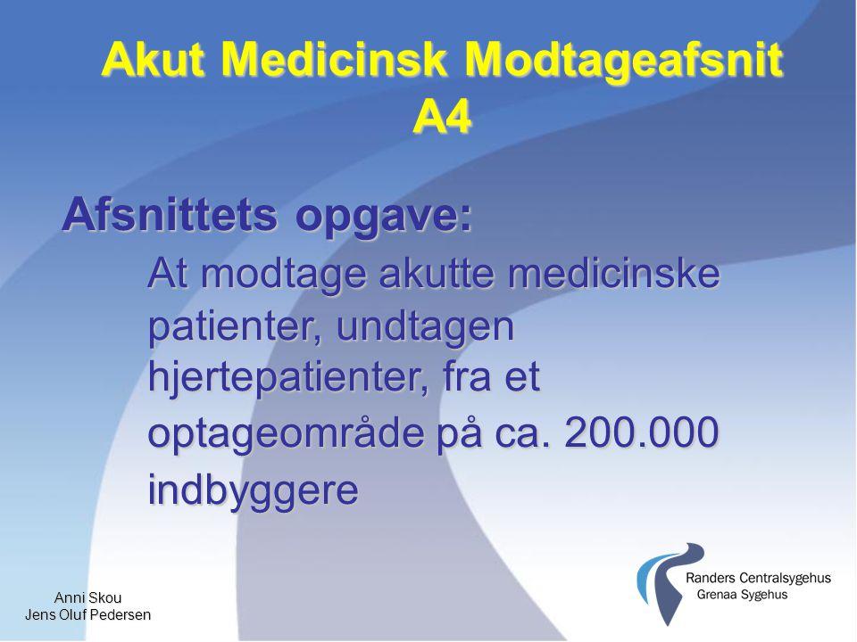 Anni Skou Jens Oluf Pedersen Akut Medicinsk Modtageafsnit A4 Afsnittets opgave: At modtage akutte medicinske patienter, undtagen hjertepatienter, fra et optageområde på ca.