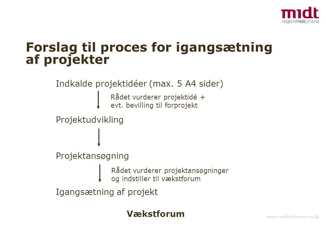 Vækstforum www.vaekstforum.rm.dk Forslag til proces for igangsætning af projekter Indkalde projektidéer (max.