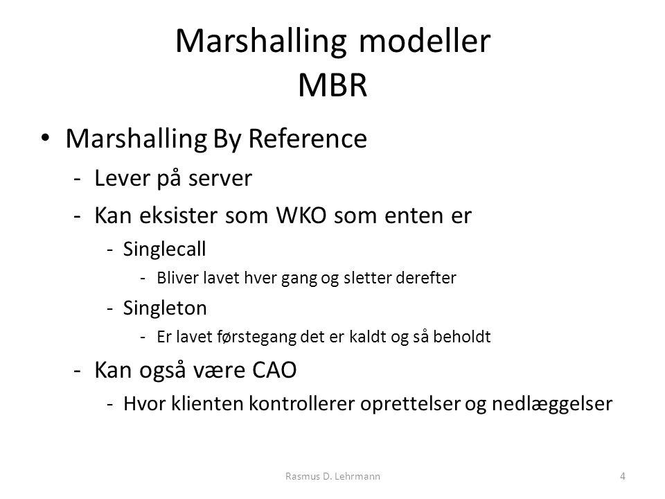 Marshalling modeller MBR Marshalling By Reference -Lever på server -Kan eksister som WKO som enten er -Singlecall -Bliver lavet hver gang og sletter derefter -Singleton -Er lavet førstegang det er kaldt og så beholdt -Kan også være CAO -Hvor klienten kontrollerer oprettelser og nedlæggelser 4Rasmus D.