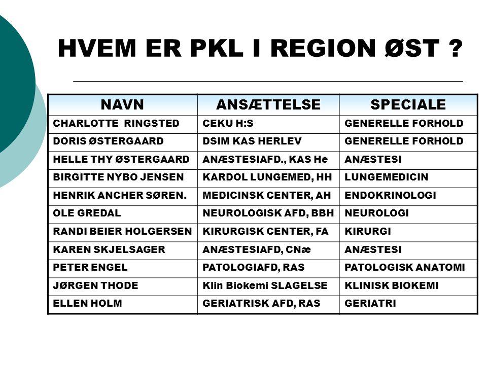 HVEM ER PKL I REGION ØST .