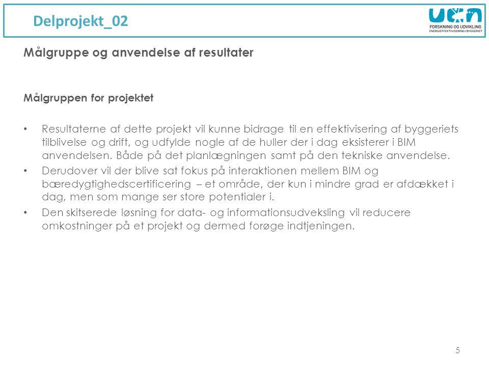 Delprojekt_02 5 Målgruppen for projektet Resultaterne af dette projekt vil kunne bidrage til en effektivisering af byggeriets tilblivelse og drift, og udfylde nogle af de huller der i dag eksisterer i BIM anvendelsen.