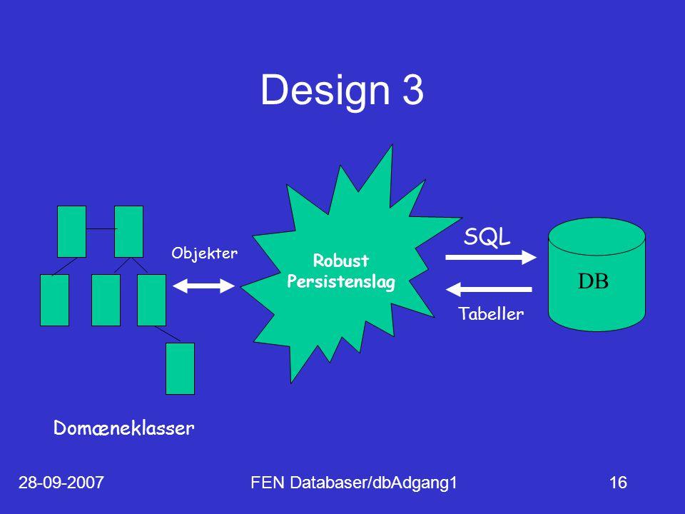 28-09-2007FEN Databaser/dbAdgang116 Design 3 Domæneklasser Robust Persistenslag DB SQL Tabeller Objekter