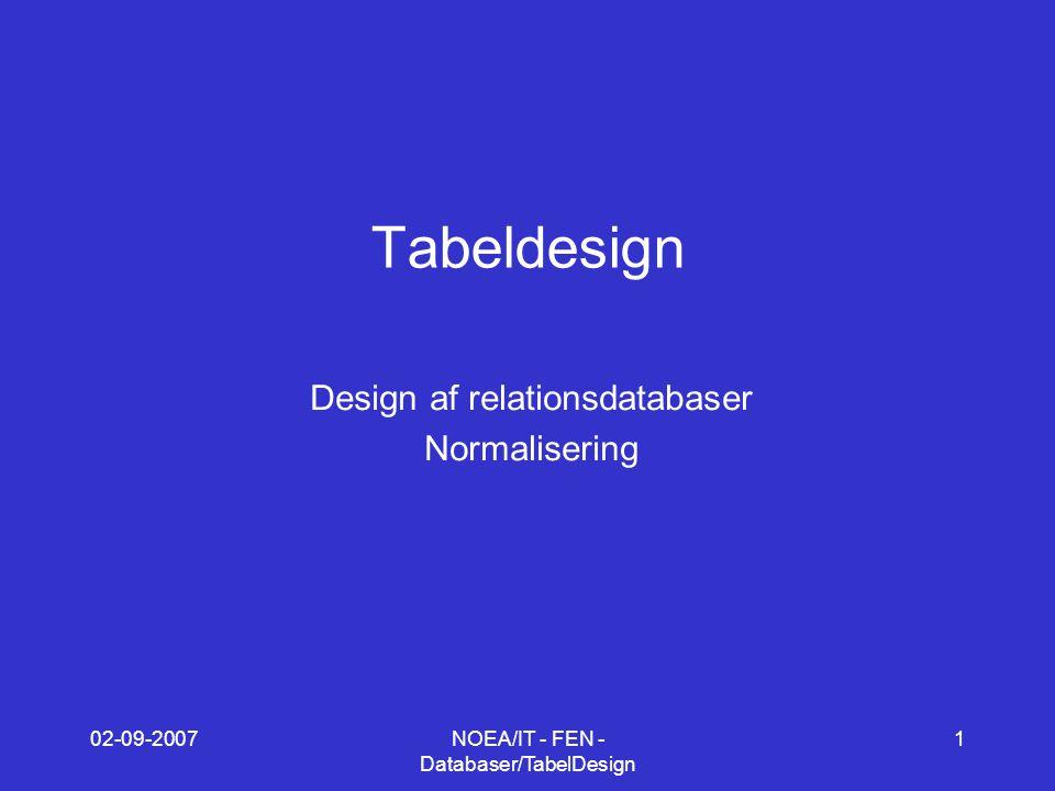 02-09-2007NOEA/IT - FEN - Databaser/TabelDesign 1 Tabeldesign Design af relationsdatabaser Normalisering