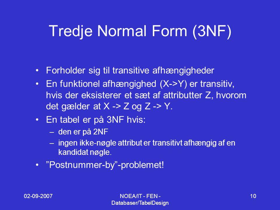 02-09-2007NOEA/IT - FEN - Databaser/TabelDesign 10 Tredje Normal Form (3NF) Forholder sig til transitive afhængigheder En funktionel afhængighed (X->Y) er transitiv, hvis der eksisterer et sæt af attributter Z, hvorom det gælder at X -> Z og Z -> Y.