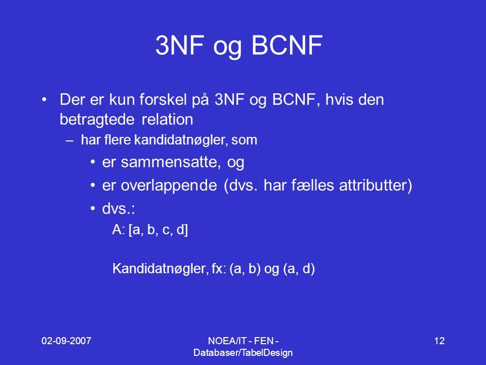 02-09-2007NOEA/IT - FEN - Databaser/TabelDesign 12 3NF og BCNF Der er kun forskel på 3NF og BCNF, hvis den betragtede relation –har flere kandidatnøgler, som er sammensatte, og er overlappende (dvs.