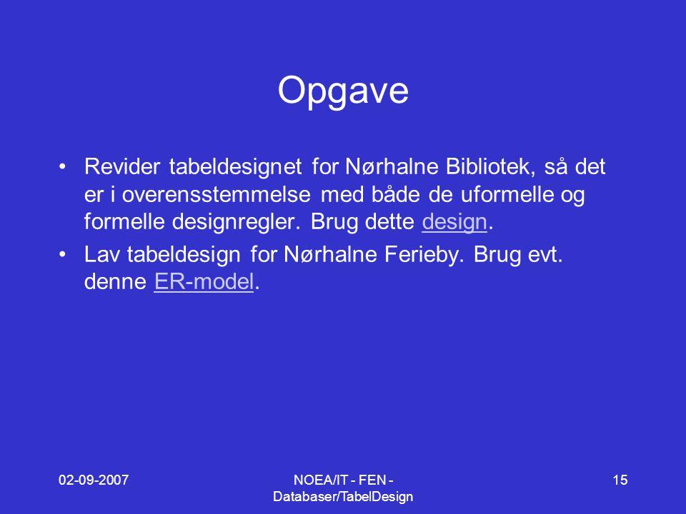 02-09-2007NOEA/IT - FEN - Databaser/TabelDesign 15 Opgave Revider tabeldesignet for Nørhalne Bibliotek, så det er i overensstemmelse med både de uformelle og formelle designregler.