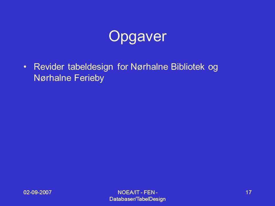 02-09-2007NOEA/IT - FEN - Databaser/TabelDesign 17 Opgaver Revider tabeldesign for Nørhalne Bibliotek og Nørhalne Ferieby