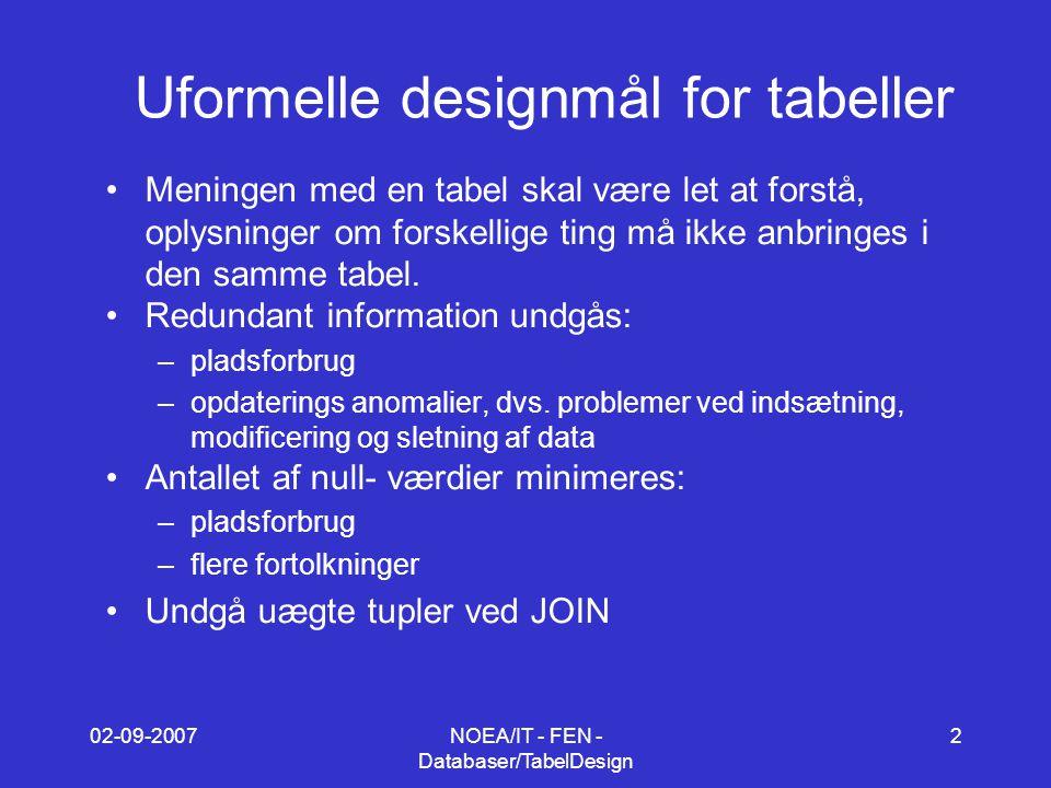 02-09-2007NOEA/IT - FEN - Databaser/TabelDesign 2 Uformelle designmål for tabeller Meningen med en tabel skal være let at forstå, oplysninger om forskellige ting må ikke anbringes i den samme tabel.