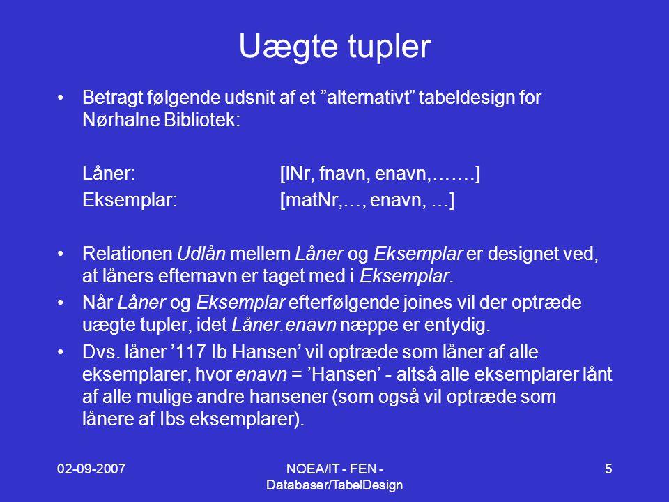 02-09-2007NOEA/IT - FEN - Databaser/TabelDesign 5 Uægte tupler Betragt følgende udsnit af et alternativt tabeldesign for Nørhalne Bibliotek: Låner:[lNr, fnavn, enavn,…….] Eksemplar:[matNr,…, enavn, …] Relationen Udlån mellem Låner og Eksemplar er designet ved, at låners efternavn er taget med i Eksemplar.