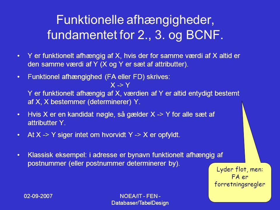 02-09-2007NOEA/IT - FEN - Databaser/TabelDesign 8 Funktionelle afhængigheder, fundamentet for 2., 3.