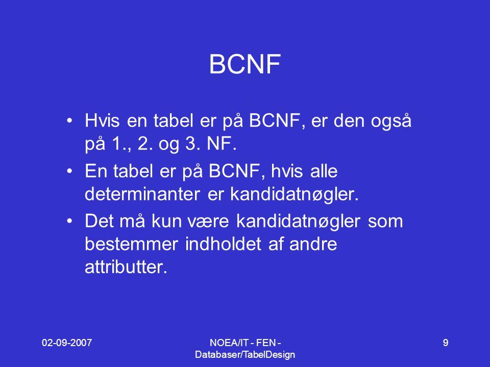 02-09-2007NOEA/IT - FEN - Databaser/TabelDesign 9 BCNF Hvis en tabel er på BCNF, er den også på 1., 2.