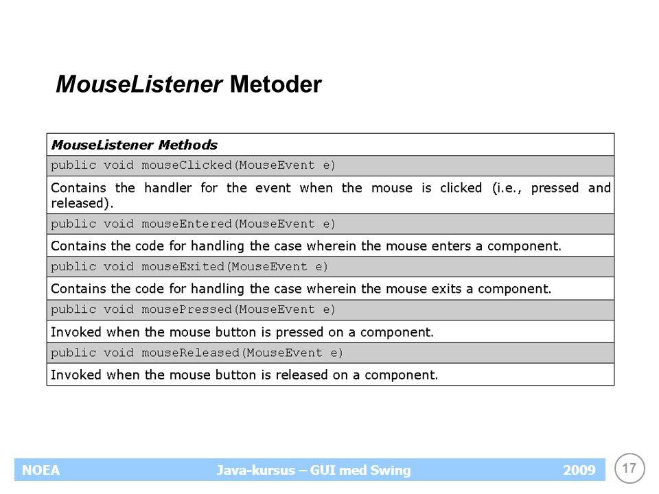 17 NOEA2009Java-kursus – GUI med Swing MouseListener Metoder