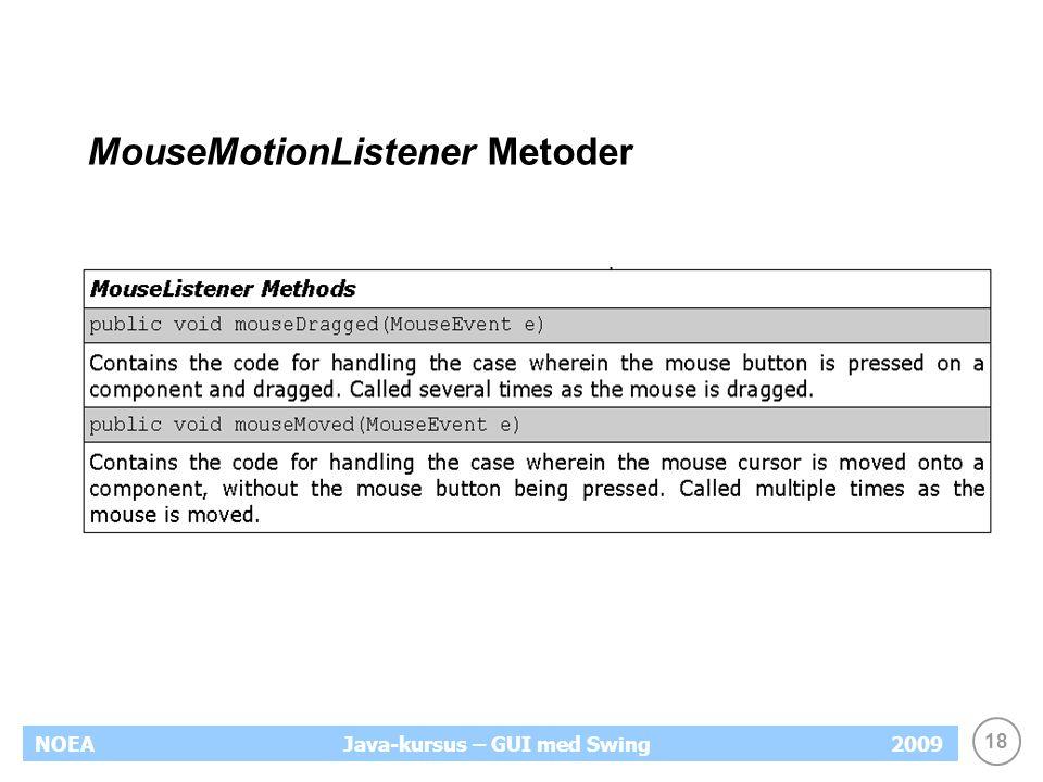 18 NOEA2009Java-kursus – GUI med Swing MouseMotionListener Metoder
