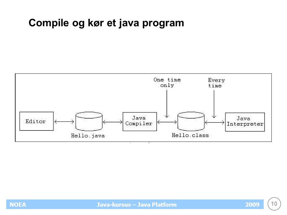 10 NOEA2009Java-kursus – Java Platform Compile og kør et java program