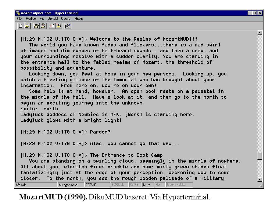 MozartMUD (1990). DikuMUD baseret. Via Hyperterminal.