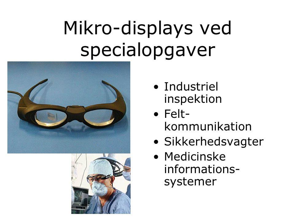 Mikro-displays ved specialopgaver Industriel inspektion Felt- kommunikation Sikkerhedsvagter Medicinske informations- systemer