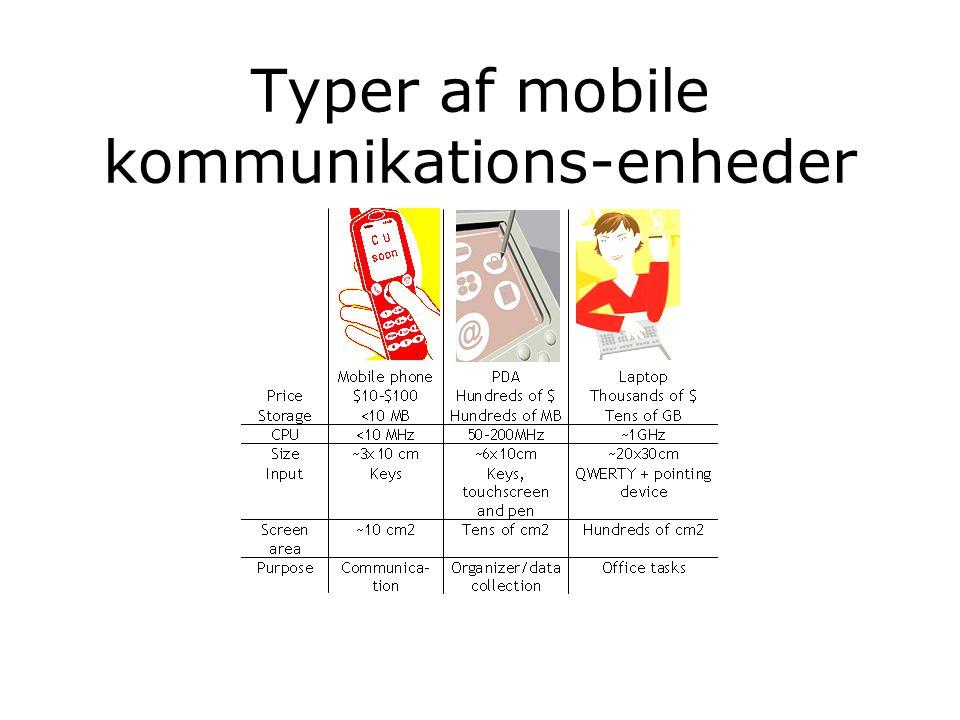 Typer af mobile kommunikations-enheder