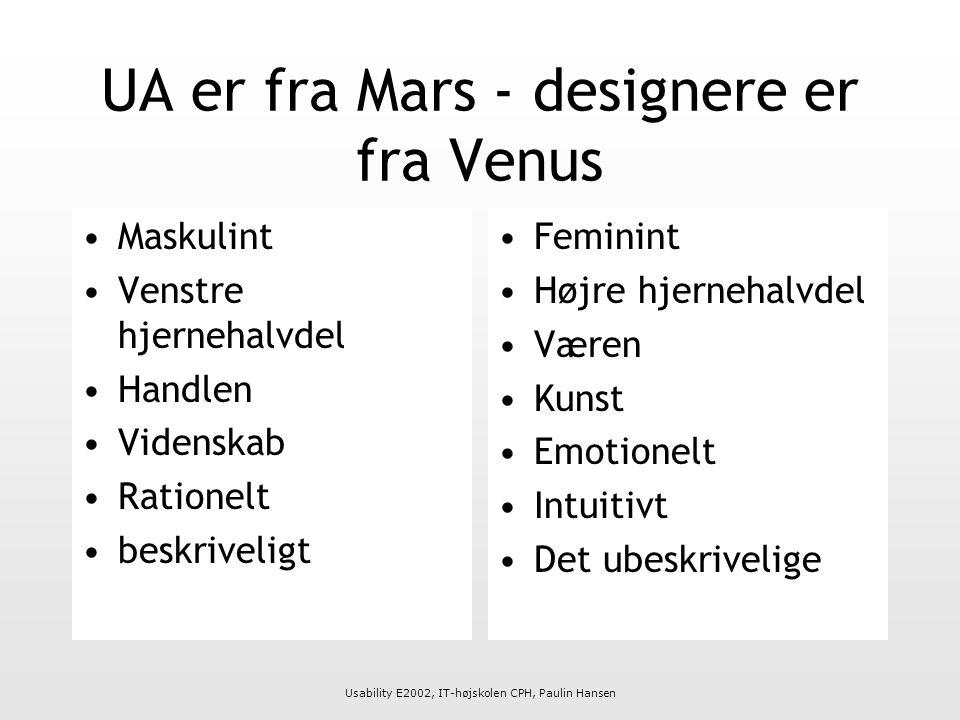 Usability E2002, IT-højskolen CPH, Paulin Hansen UA er fra Mars - designere er fra Venus Maskulint Venstre hjernehalvdel Handlen Videnskab Rationelt beskriveligt Feminint Højre hjernehalvdel Væren Kunst Emotionelt Intuitivt Det ubeskrivelige