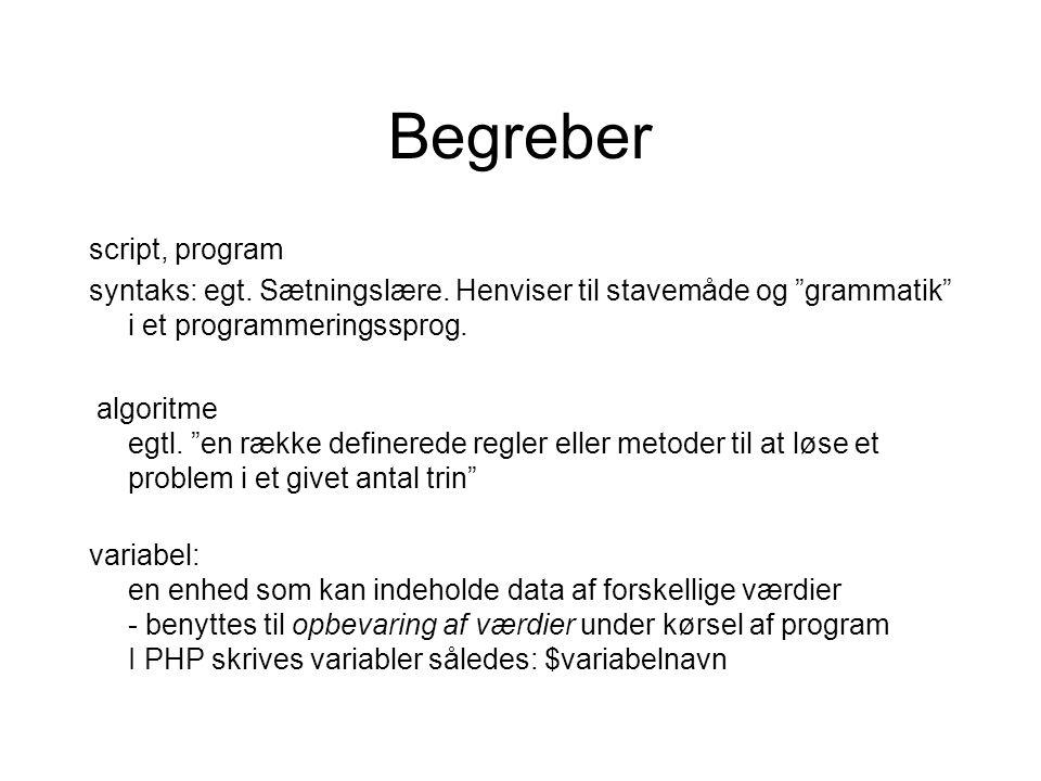 Begreber script, program syntaks: egt. Sætningslære.