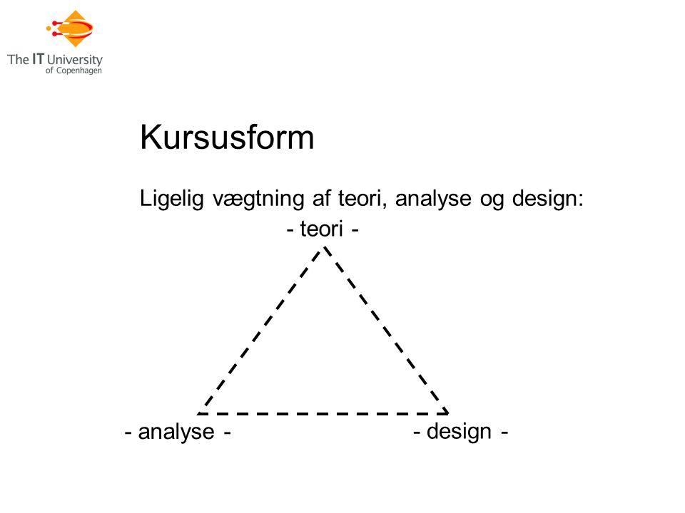 Kursusform Ligelig vægtning af teori, analyse og design: - teori - - analyse - - design -