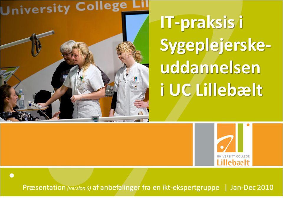 IT-praksis i Sygeplejerske- uddannelsen i UC Lillebælt Præsentation (version 6) af anbefalinger fra en ikt-ekspertgruppe ǀ Jan-Dec 2010