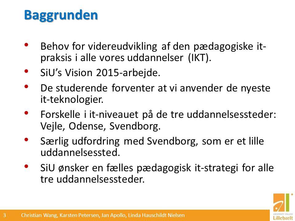 3 Christian Wang, Karsten Petersen, Jan Apollo, Linda Hauschildt Nielsen Baggrunden Behov for videreudvikling af den pædagogiske it- praksis i alle vores uddannelser (IKT).
