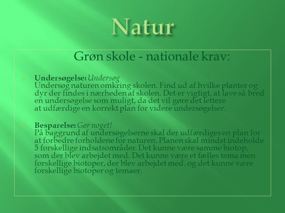 Grøn skole - nationale krav:  Undersøgelse: Undersøg Undersøg naturen omkring skolen.