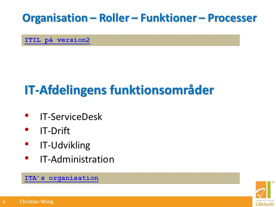 6 Christian Wang Organisation – Roller – Funktioner – Processer ITA's organisation ITIL på version2 IT-Afdelingens funktionsområder IT-ServiceDesk IT-Drift IT-Udvikling IT-Administration