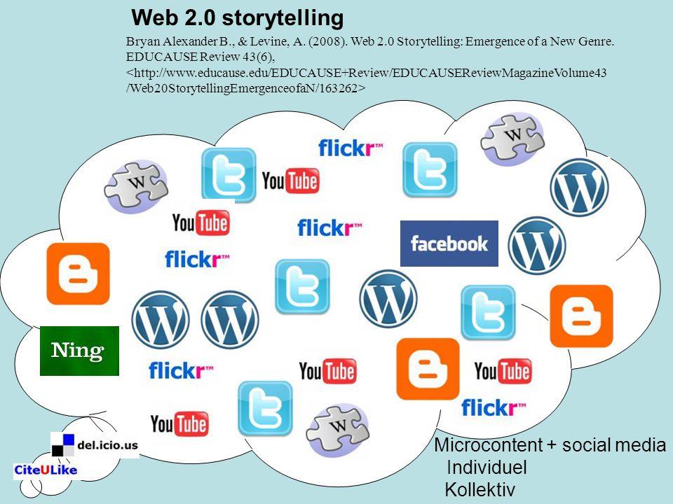 Web 2.0 storytelling Microcontent + social media Individuel Kollektiv Bryan Alexander B., & Levine, A.