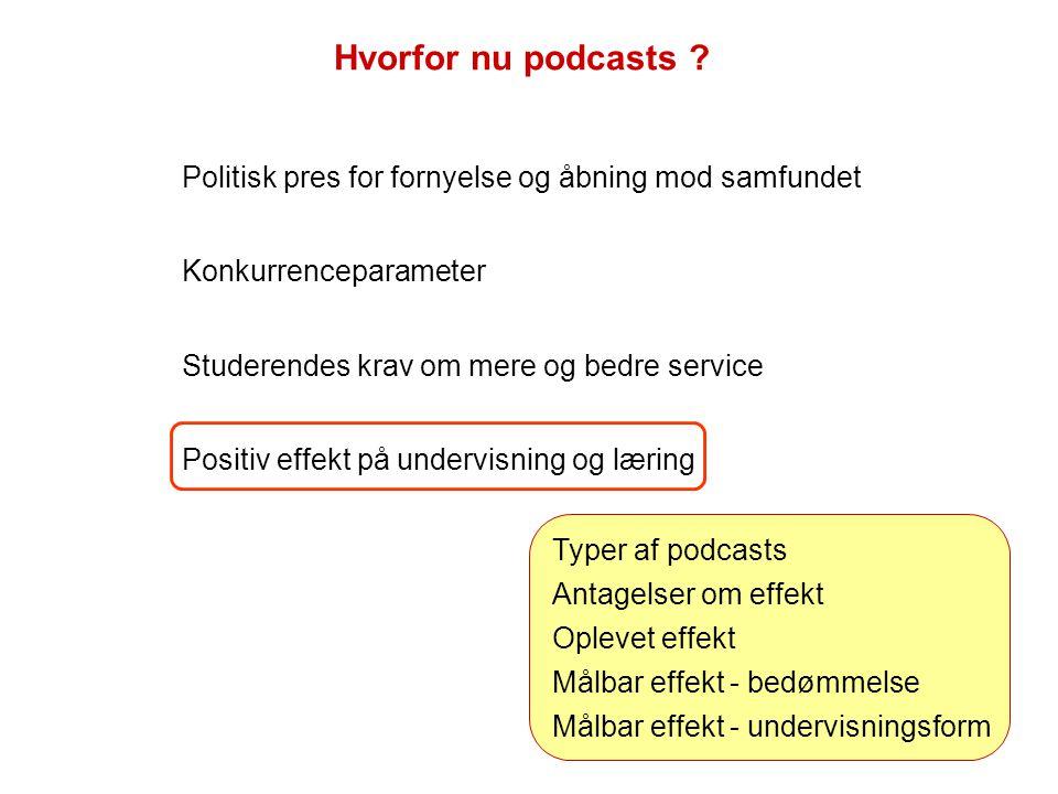 Politisk pres for fornyelse og åbning mod samfundet Konkurrenceparameter Studerendes krav om mere og bedre service Positiv effekt på undervisning og læring Hvorfor nu podcasts .