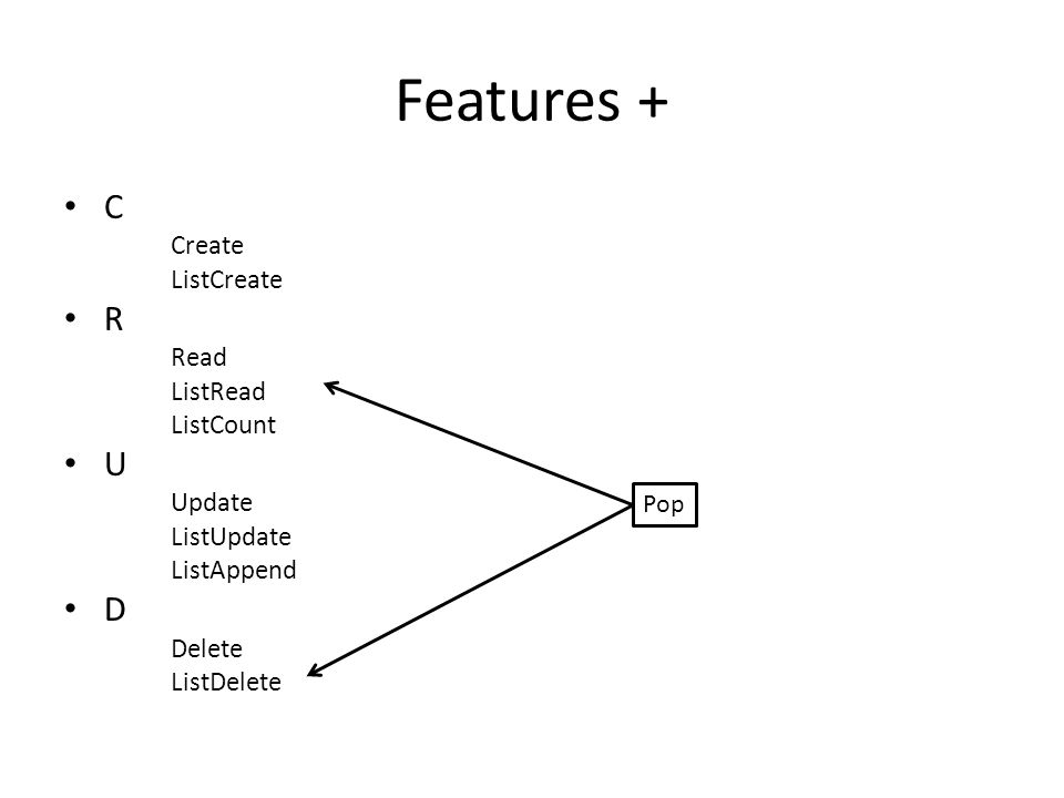 Features + C Create ListCreate R Read ListRead ListCount U Update ListUpdate ListAppend D Delete ListDelete Pop