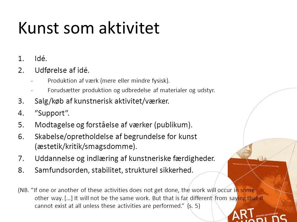 Kunst som aktivitet 1.Idé. 2.Udførelse af idé. -Produktion af værk (mere eller mindre fysisk).