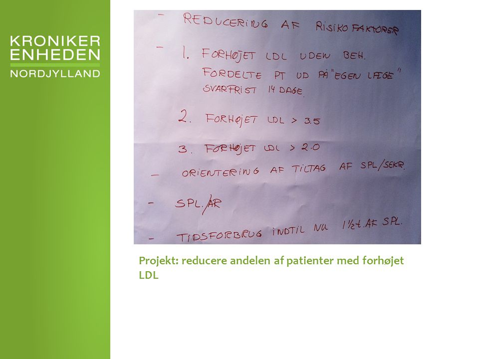 Projekt: reducere andelen af patienter med forhøjet LDL