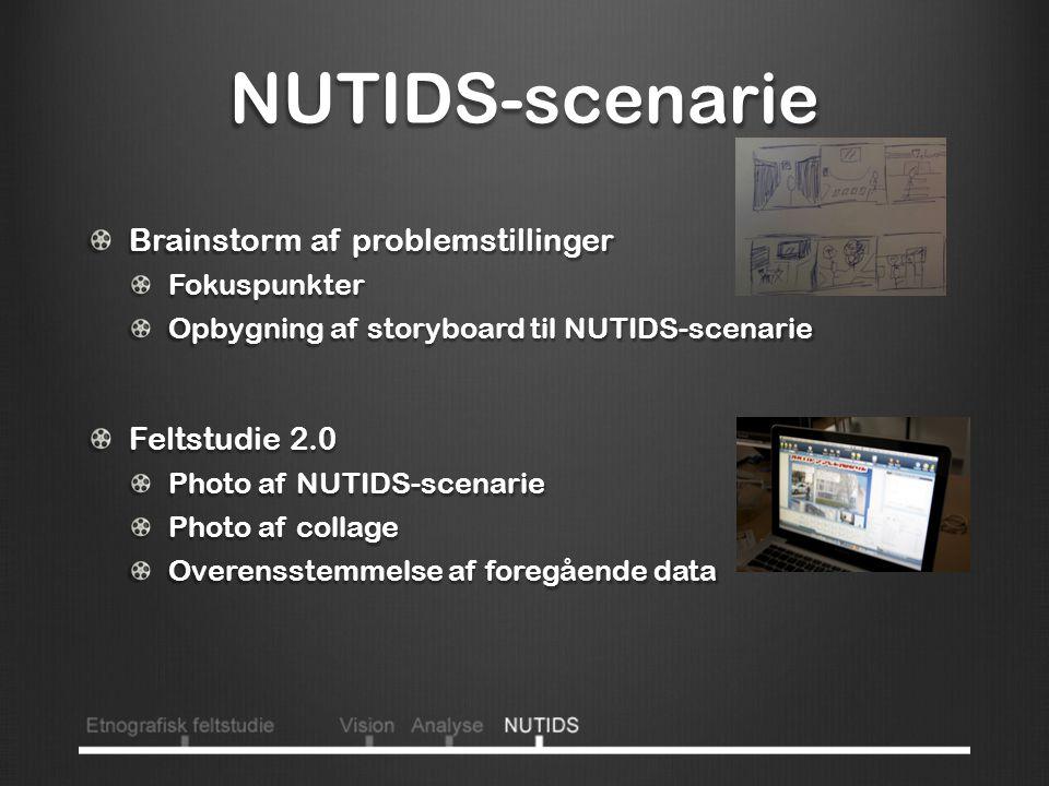 NUTIDS-scenarie Brainstorm af problemstillinger Fokuspunkter Opbygning af storyboard til NUTIDS-scenarie Feltstudie 2.0 Photo af NUTIDS-scenarie Photo af collage Overensstemmelse af foregående data