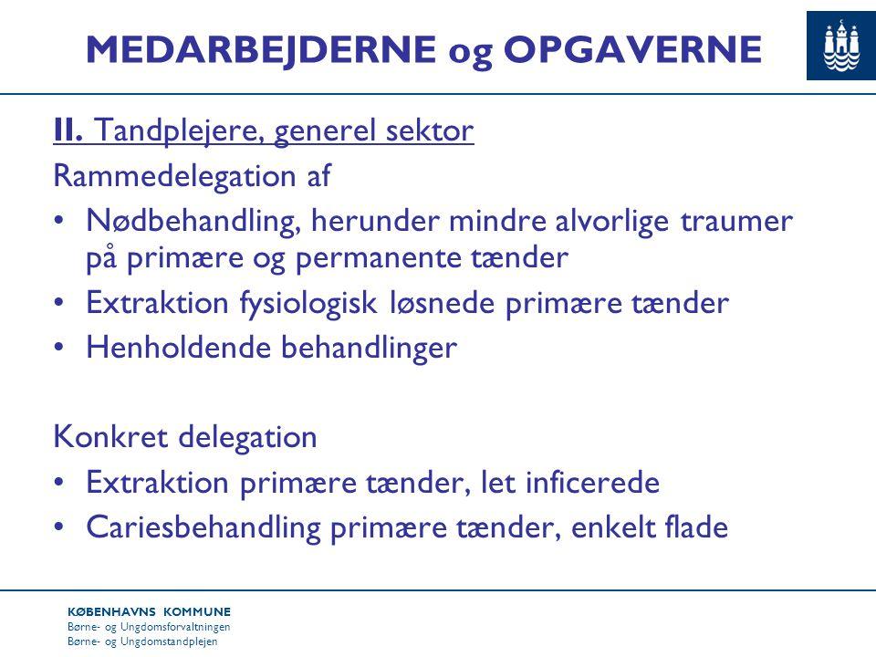 KØBENHAVNS KOMMUNE Børne- og Ungdomsforvaltningen Børne- og Ungdomstandplejen MEDARBEJDERNE og OPGAVERNE II.