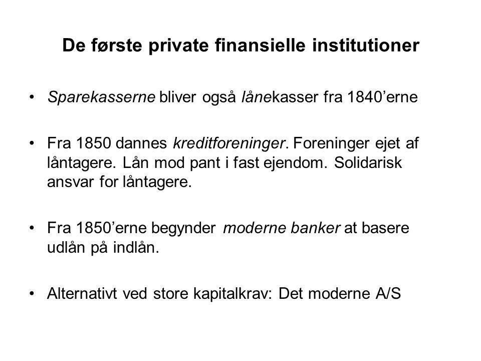 De første private finansielle institutioner Sparekasserne bliver også lånekasser fra 1840'erne Fra 1850 dannes kreditforeninger.