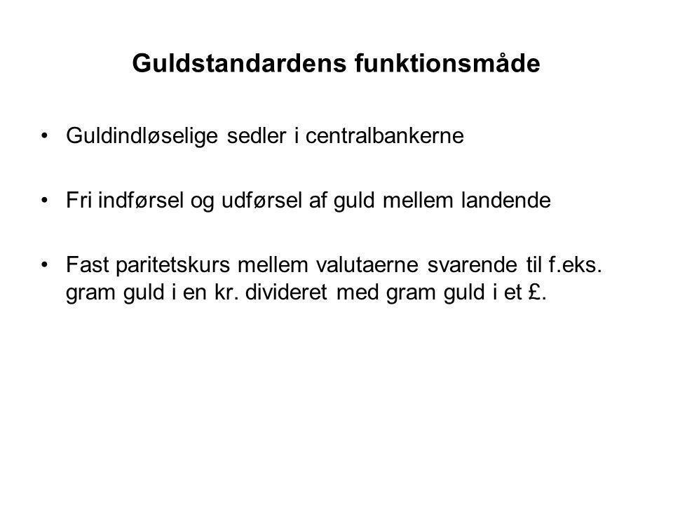 Guldstandardens funktionsmåde Guldindløselige sedler i centralbankerne Fri indførsel og udførsel af guld mellem landende Fast paritetskurs mellem valutaerne svarende til f.eks.
