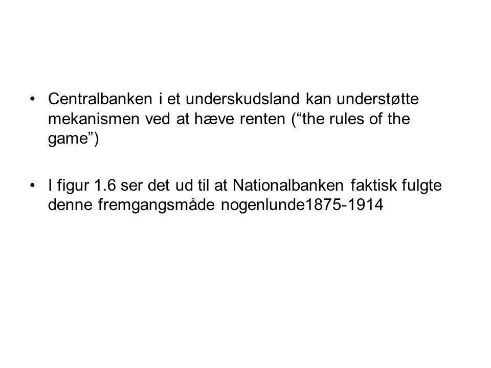 Centralbanken i et underskudsland kan understøtte mekanismen ved at hæve renten ( the rules of the game ) I figur 1.6 ser det ud til at Nationalbanken faktisk fulgte denne fremgangsmåde nogenlunde1875-1914
