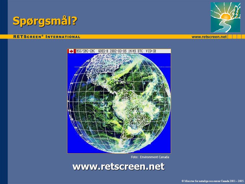 Spørgsmål www.retscreen.net Foto: Environment Canada